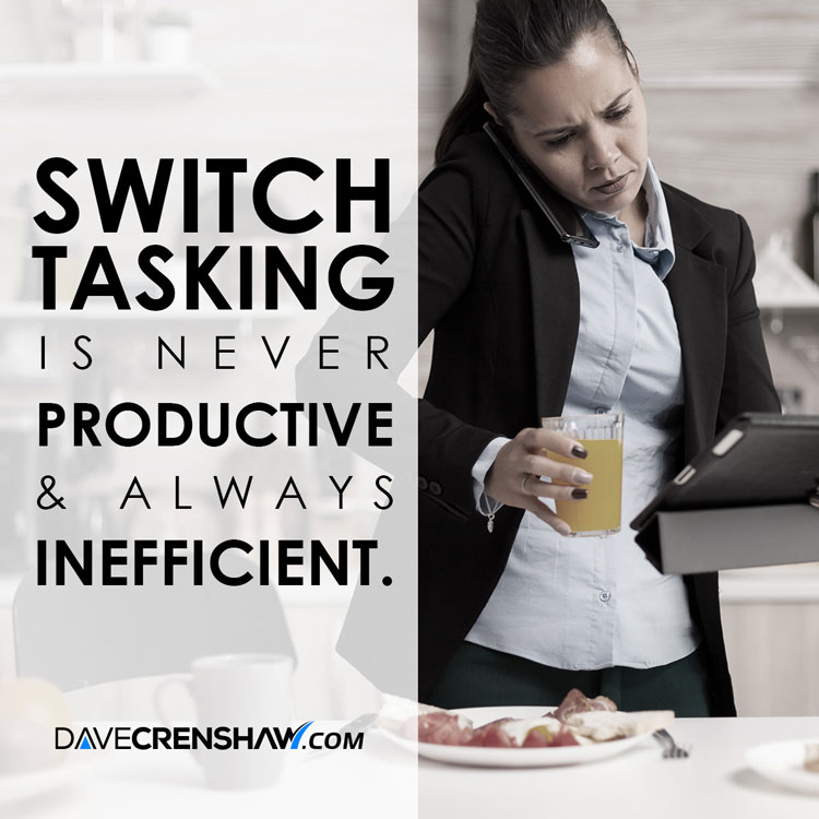 Switchtasking is never productive and always inefficient